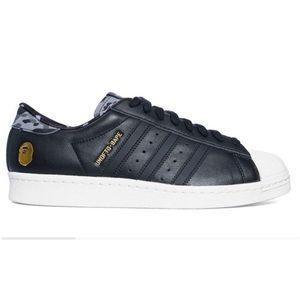 AUTH Bape X Undefeated Adidas Superstars Black 6.5